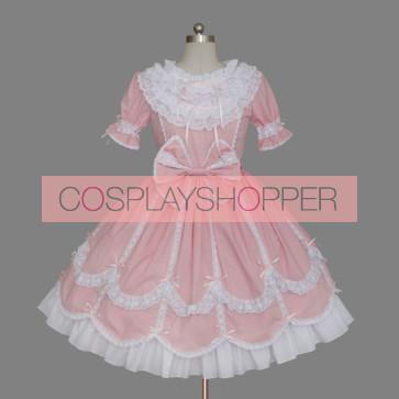 Pink & White Short Long Sleeves Bows Sweet Lolita Dress