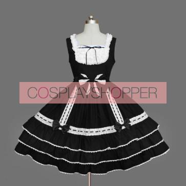 Black Sleeveless Lace Bandage Cotton Gothic Lolita Dress