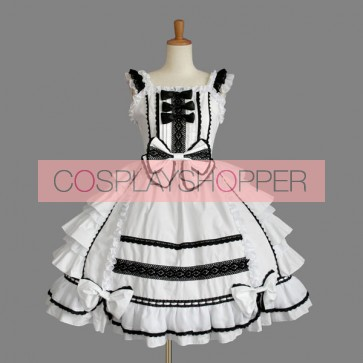 White Cute Bows Cotton Gothic Lolita Dress