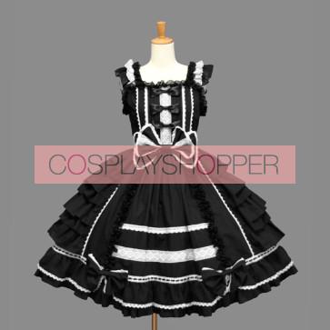 Black Sleeveless Bandage Lace Stylish Gothic Lolita Dress