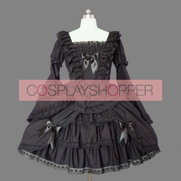 Black Long Sleeves Bows Cotton Gothic Lolita Dress