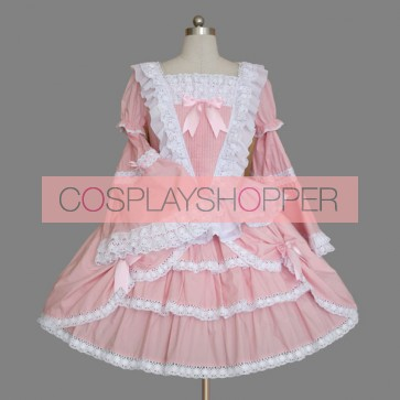 Pink And White Bell Bottom Sleeves Cute Bow Sweet Lolita Dress