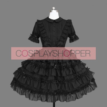 Black Bows Multi-layer Cotton Gothic Lolita Dress