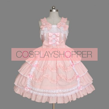 Pink Sleeveless Bandage Lace Cute Sweet Lolita Dress