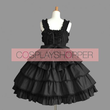 Black Sleeveless Bows Fabulous Gothic Lolita Dress