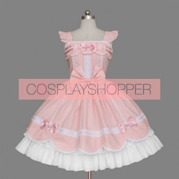 Pink And White Bows Lace Sweet Lolita Dress