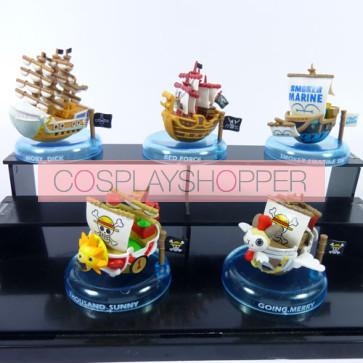 5-Piece One Piece Boat Mini PVC Action Figure Set