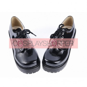 "Black 2.2"" High Heel Cute Patent Leather Round Toe Military Style Platform Girls Lolita Shoes"