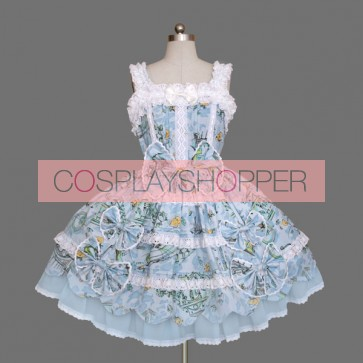 Blue And White Sleeveless Bows Cotton Sweet Lolita Dress