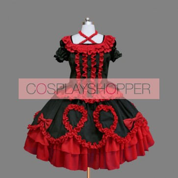 Red And Black Short Sleeves Bows Elegant Gothic Lolita Dress