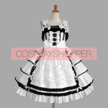 Black And White Sleeveless Bandage Stylish Gothic Lolita Dress
