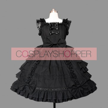 Black Short Sleeves Multi-layer Stylish Gothic Lolita Dress