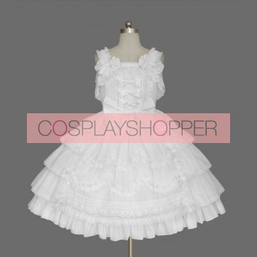 White Sleeveless Ruffles Elegant Cotton Sweet Lolita Dress