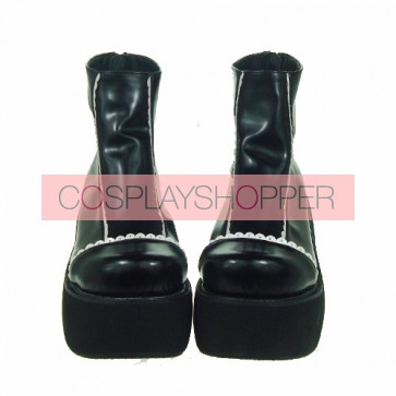 "Black & White 3.1"" Heel High Stylish Patent Leather Round Toe Scalloped Platform Girls Lolita Shoes"