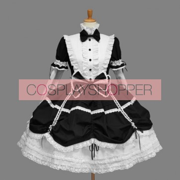Black And White Long Sleeves Stylish Cotton Gothic Lolita Dress