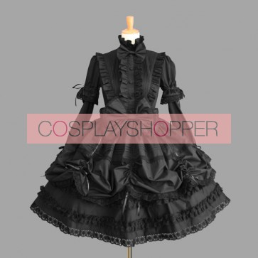 Black Cotton Long Sleeves Wonderful Gothic Lolita Dress