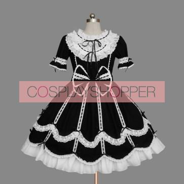 Black And White Short Sleeves Elegant Gothic Lolita Dress