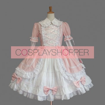 Pink And White Bell Bottom Sleeve Cotton Sweet Lolita Dress