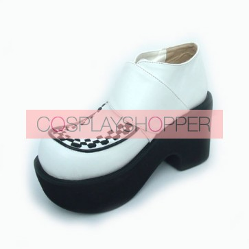 "White 3.5"" Heel High Beautiful Synthetic Leather Round Toe Cross Straps Platform Girls Lolita Shoes"