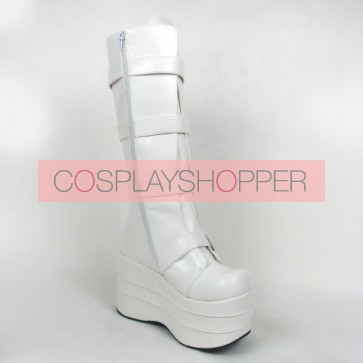 "White 3.9"" Heel High Charming Synthetic Leather Round Toe Stud Buckles Platform Girls Lolita Boots"