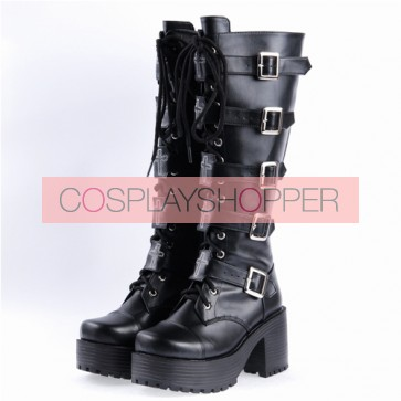 "Black 2.2"" High Heel Classic PU Straps Buckles Punk Rock Women's Lolita Boots"