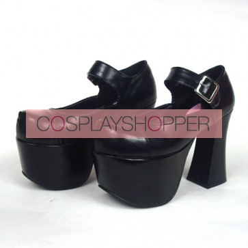 "Black 4.9"" Heel High Charming Patent Leather Round Toe Cross Straps Platform Girls Lolita Shoes"