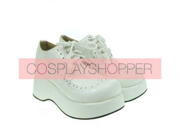 "White 2.4"" Heel High Romatic Suede Round Toe Lace Tie Platform Girls Lolita Shoes"