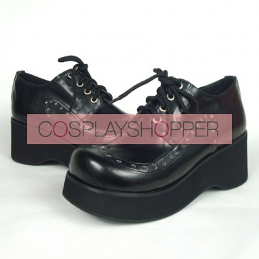 "Black 2.4"" Heel High Adorable Patent Leather Round Toe Lace Tie Platform Lady Lolita Shoes"