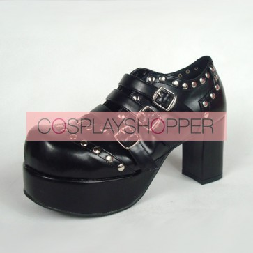 "Black 3.1"" Heel High Classic Synthetic Leather Round Toe Cross Straps Platform Lady Lolita Shoes"