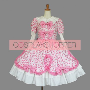 Pink And White Long Sleeves Lovely Sweet Lolita Dress