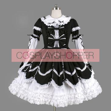 Black And White Bows Elegant Gothic Lolita Dress