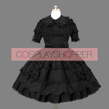 Black Short Sleeves Bows Cotton Gothic Lolita Dress