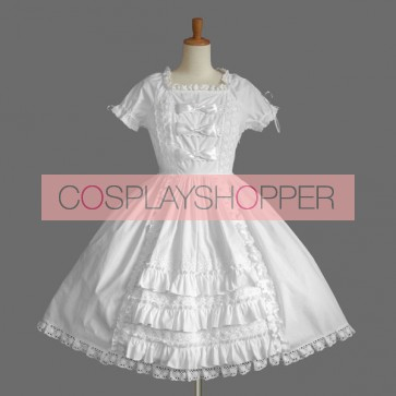 White Short Sleeves Bandage Lovely Cotton Sweet Lolita Dress