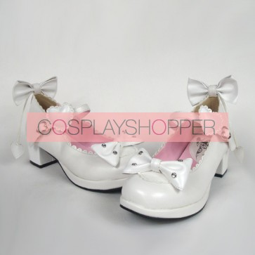 "White 1.8"" Heel High Lovely PU Point Toe Bow Decoration Platform Girls Lolita Shoes"