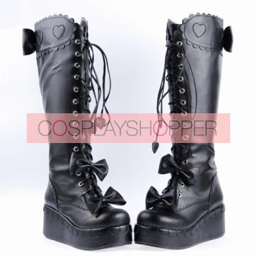 "Black 2.4"" High Heel Cute PU Bow Decoration Sweet Girls Lolita Boots"