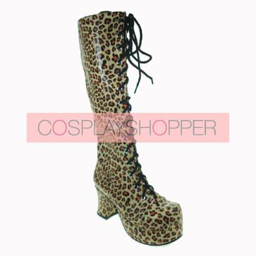 "Leopard 3.0"" Heel High Special Suede Round Toe Cross Straps Platform Women Lolita Boots"