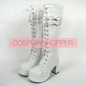 "White 3.0"" Heel High Cute PU Round Toe Bow Platform Girls Lolita Boots"