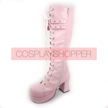 "Pink 3.0"" Heel High Lovely Patent Leather Round Toe Bow Platform Girls Lolita Boots"