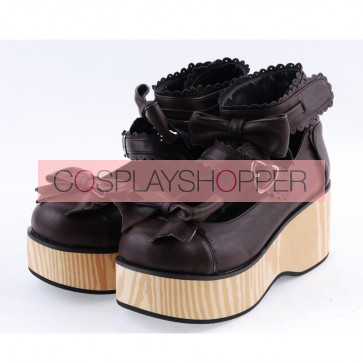"Brown 2.8"" High Heel Classical Patent Leather Bow Straps Platform Girls Lolita Shoes"