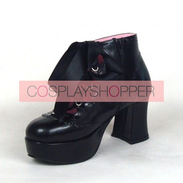 "Black 2.9"" Heel High Cute PU Round Toe Ankle Straps Platform Girls Lolita Shoes"