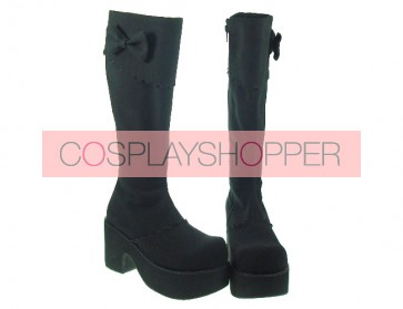 "Black 3.9"" Heel High Charming Synthetic Leather Round Toe Cross Straps Platform Girls Lolita Boots"