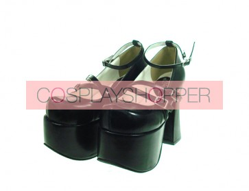 "Black 4.9"" Heel High Stylish Synthetic Leather Round Toe Scalloped Platform Girls Lolita Shoes"