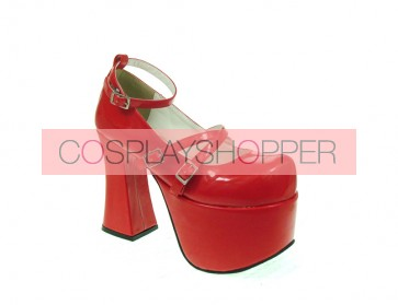 "Red 4.9"" Heel High Romatic PU Round Toe Scalloped Platform Girls Lolita Shoes"
