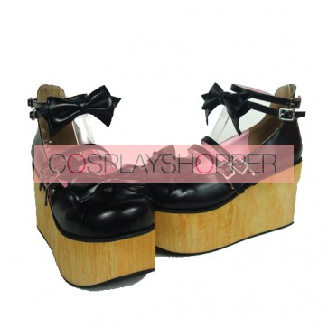 "Black 3.7"" Heel High Stylish Suede Round Toe Bow Decoration Platform Lady Lolita Shoes"
