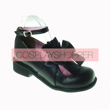 "Black 1.4"" Heel High Cute Patent Leather Round Toe Bow Decoration Platform Lady Lolita Shoes"