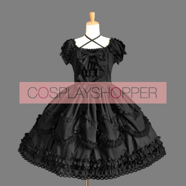 Black Short Sleeves Elegant Round Collar Gothic Lolita Dress