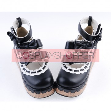 "Black & White 2.8"" High Heel Gorgeous Synthetic Leather Round Toe Ankle Straps Bowknot Platform Girls Lolita Shoes"