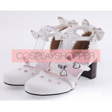 """White 2.6"""" Heel High Classic Synthetic Leather Point Toe Bowknot Platform Women Lolita Shoes"""