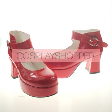 "Red 2.9"" Heel High Beautiful Synthetic Leather Point Toe Ankle Straps Platform Women Lolita Shoes"