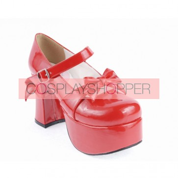 "Red 3.7"" High Heel Cute PU Round Toe Strap Bowknot Platform Girls Lolita Shoes"